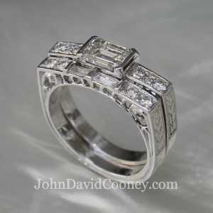 Emerald cut wedding set, hand carved