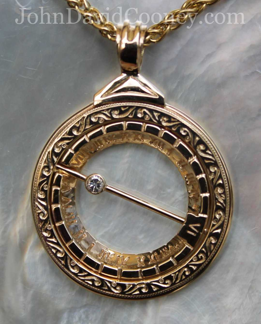 14K YELLOW GOLD. 5 PT DIAMOND. ASTRONOMICAL RING DIALS ARE ANCIENT TIMES PIECES WIDELY USED WELL INTO THE 18TH CENTURY. A GIFT TO GEORGE WASHINGTON FROM LAFAYETTE THESE DIALS ARE ACTUALLY MINIATURE FOLDING ARMILARRY SPHERES A GLOBE OF THE WORLD CONSISTING OF RINGS REPRESENTING CONSTELLATIONS AND IMAGINARY CIRCLES AROUND THE EARTH.