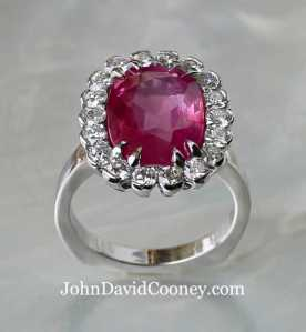 6.97CT Un-Heated Natural Pink Sapphire, 1.14CT Diamonds, set in Platinum, a classic look