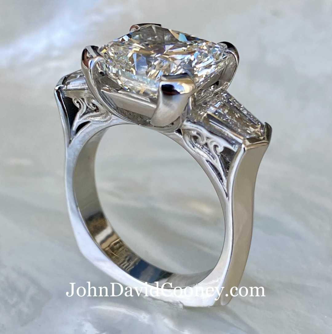 Platinum 95% Gallium-Ruthenium 5%, 5.03CT Center diamond with GIA report