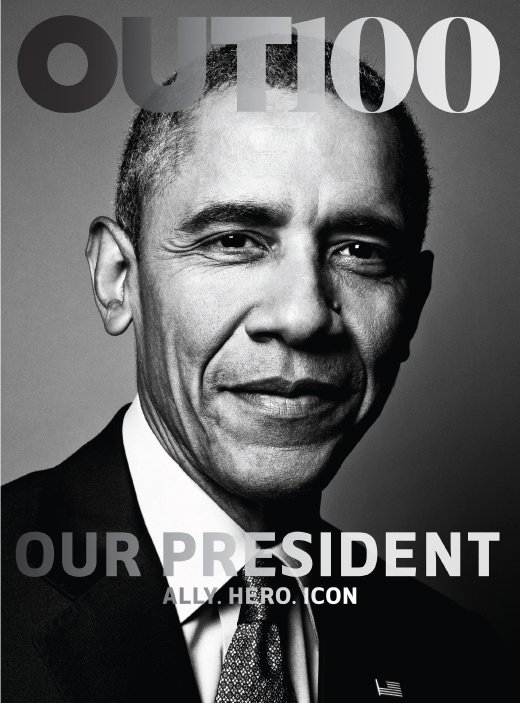 epa05019904 A handout cover image released by Out Magazine showing a portrait of US President Barack Obama on the cover of the magazine's Out 100 issue as their 'Ally of the Year' in New York City, New York, USA, 10 November 2015. According to a release from the magazine it marks the first time a sitting US President has been photographed for the cover of an LGBT publication. EPA/OUT / HANDOUT HANDOUT EDITORIAL USE ONLY/NO SALES +++(c) dpa - Bildfunk+++