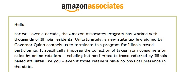 New Illinois taxes cause Amazon to give me the axe