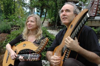 john doan and murial anderson harp guitars in garden