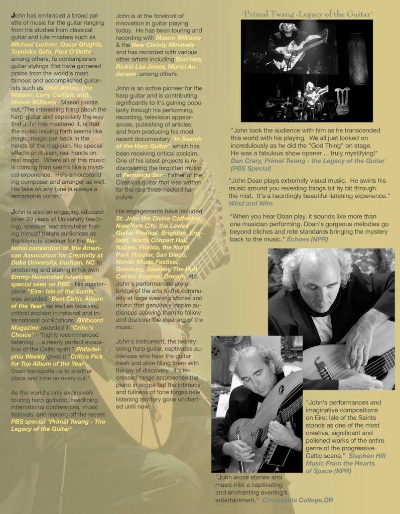 John Doan Harp Guitar Press Release Page 2