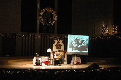 John Doan on stage with the Christmas show.
