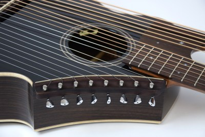 Brunner Travel Harp Guitar Close Up on Super Treble Strings
