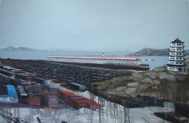 'Container Island' a painting by artist Josie Jenkins