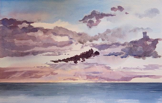 Watercolour painting mid-North Sea, at dusk