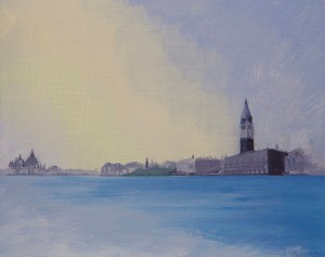 Painting of St Marks Basilica and Santa Maria della Salute, Venice