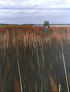 Painting of a Birdwatcher on the Hale Marsh River Mersey