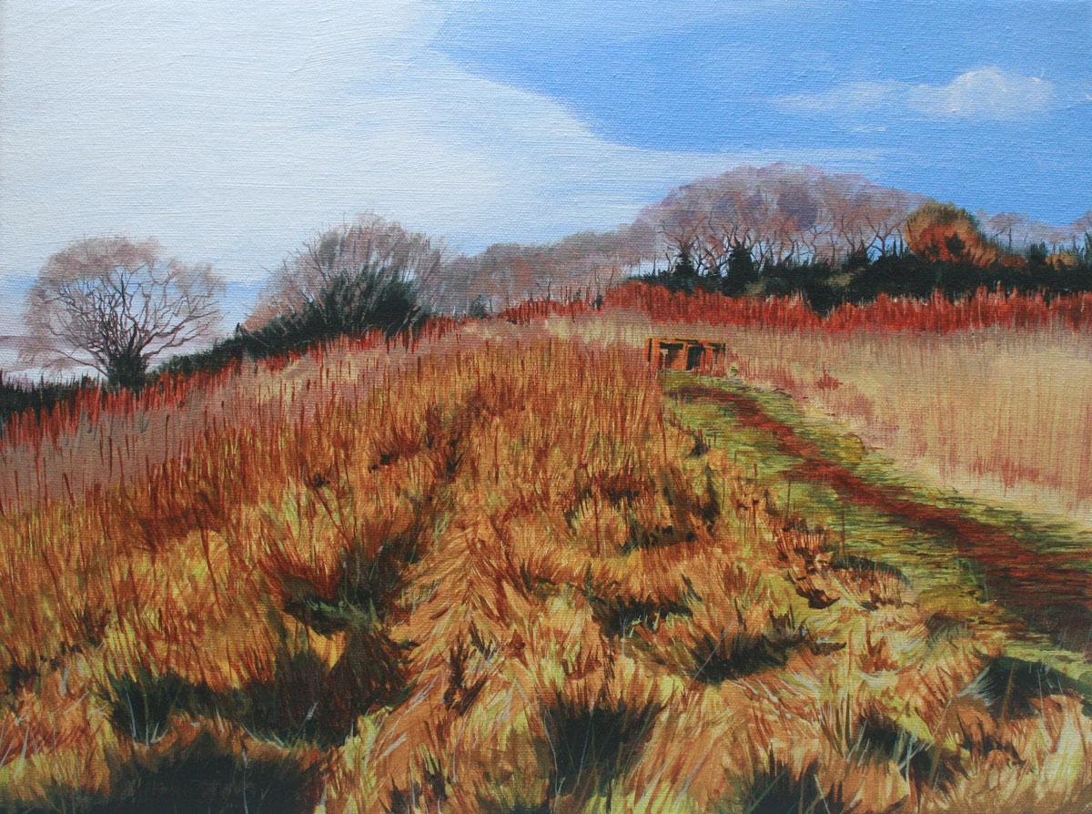 Painting of landscape at Oglet Bay Speke