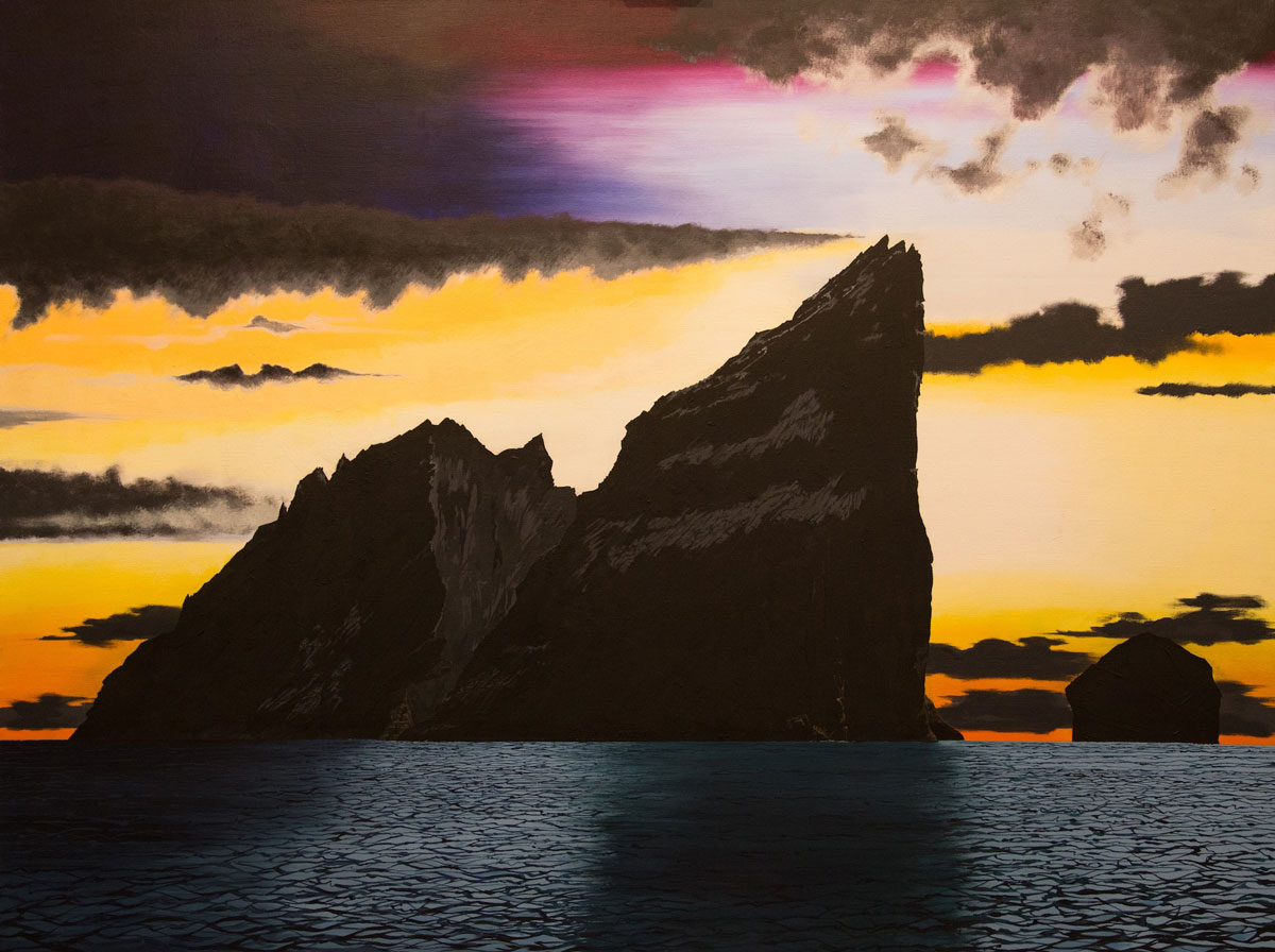 Painting of St Kilda, Scotland including Boreray