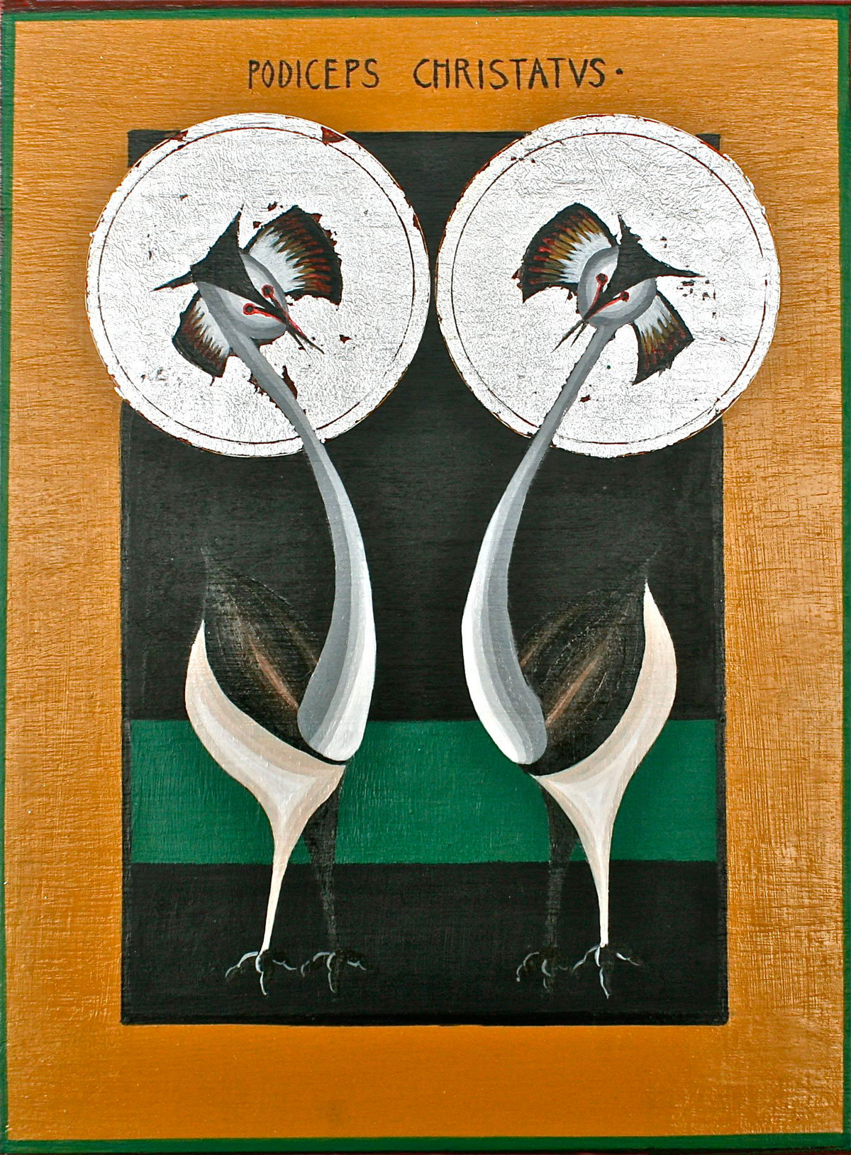ikon painting of Great Crested Grebes, Podiceps Cristatus