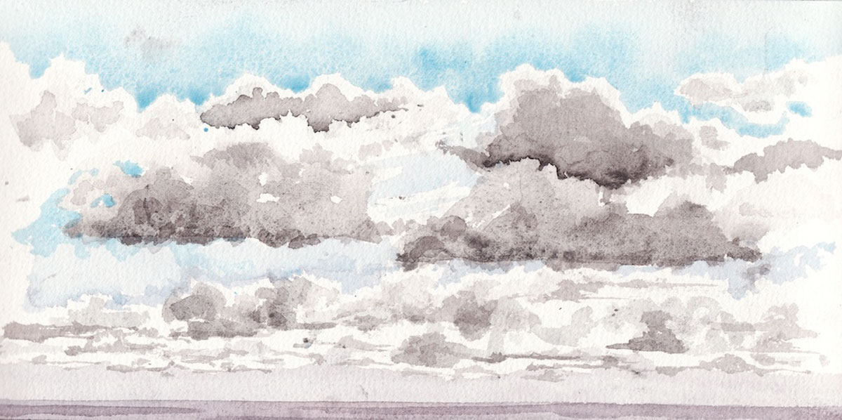 Watercolour painting of clouds over the North Sea