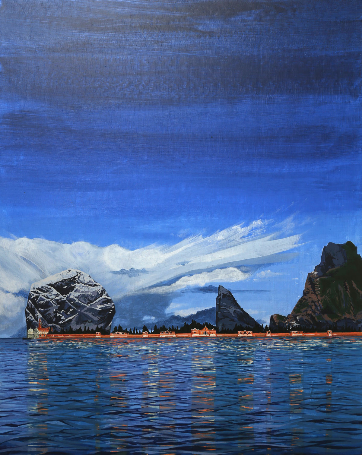 Painting of the islands of St Kilda Scotland and San Michele Venice