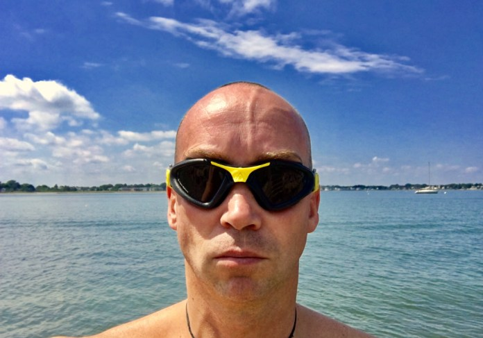 John Eye wearing aqua sphere kayenne swim goggles