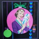 Christmas Present by Roy Besser . original mid century acryllic on artists board illustration painting