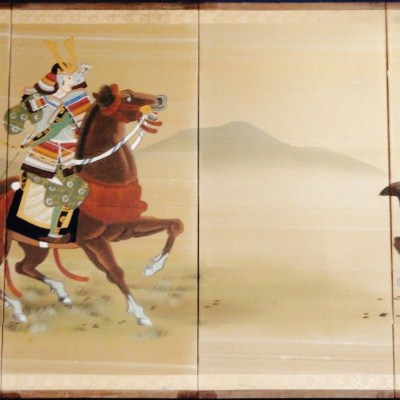 Samurai Warriors on Horseback Byobu full image