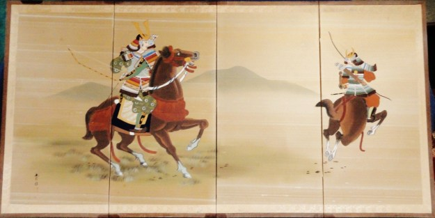 Samurai Warriors on Horseback Byobu