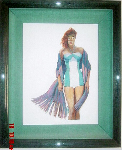 Bathing Beauty by Roy Besser. Mid century illustration painting on artists board. Make offer.