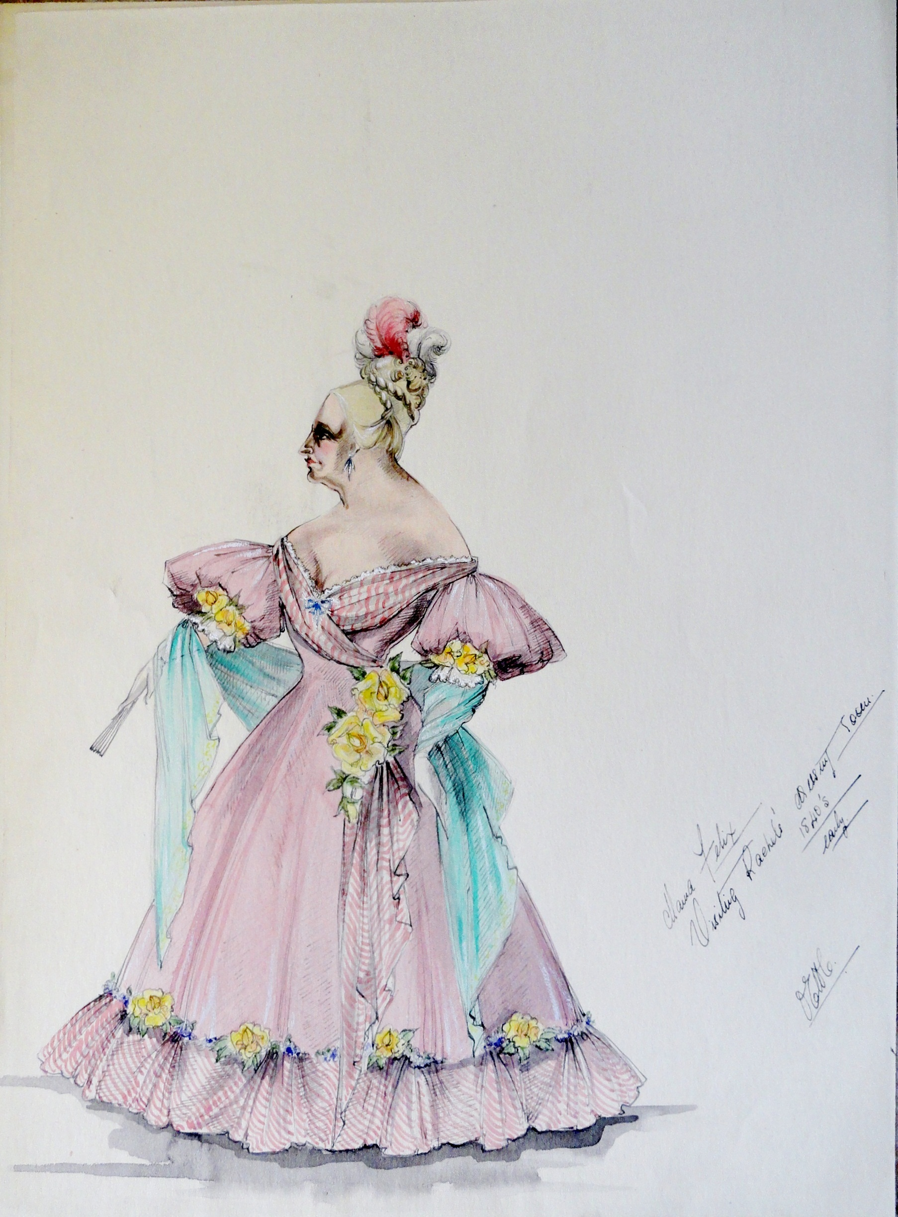 Rachel Mama Felix in pink gown with yellow flower accents. Pen and ink with watercolor.  Signed , with notes. From the Rachel Portfolio by Owen Hyde Clark. $100.00.