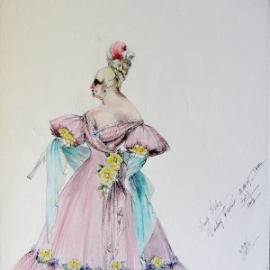 Rachel Mama Felix in pink gown with yellow flower accents. Pen and ink with watercolor.  Signed , with notes. From the Rachel Portfolio by Owen Hyde Clark.