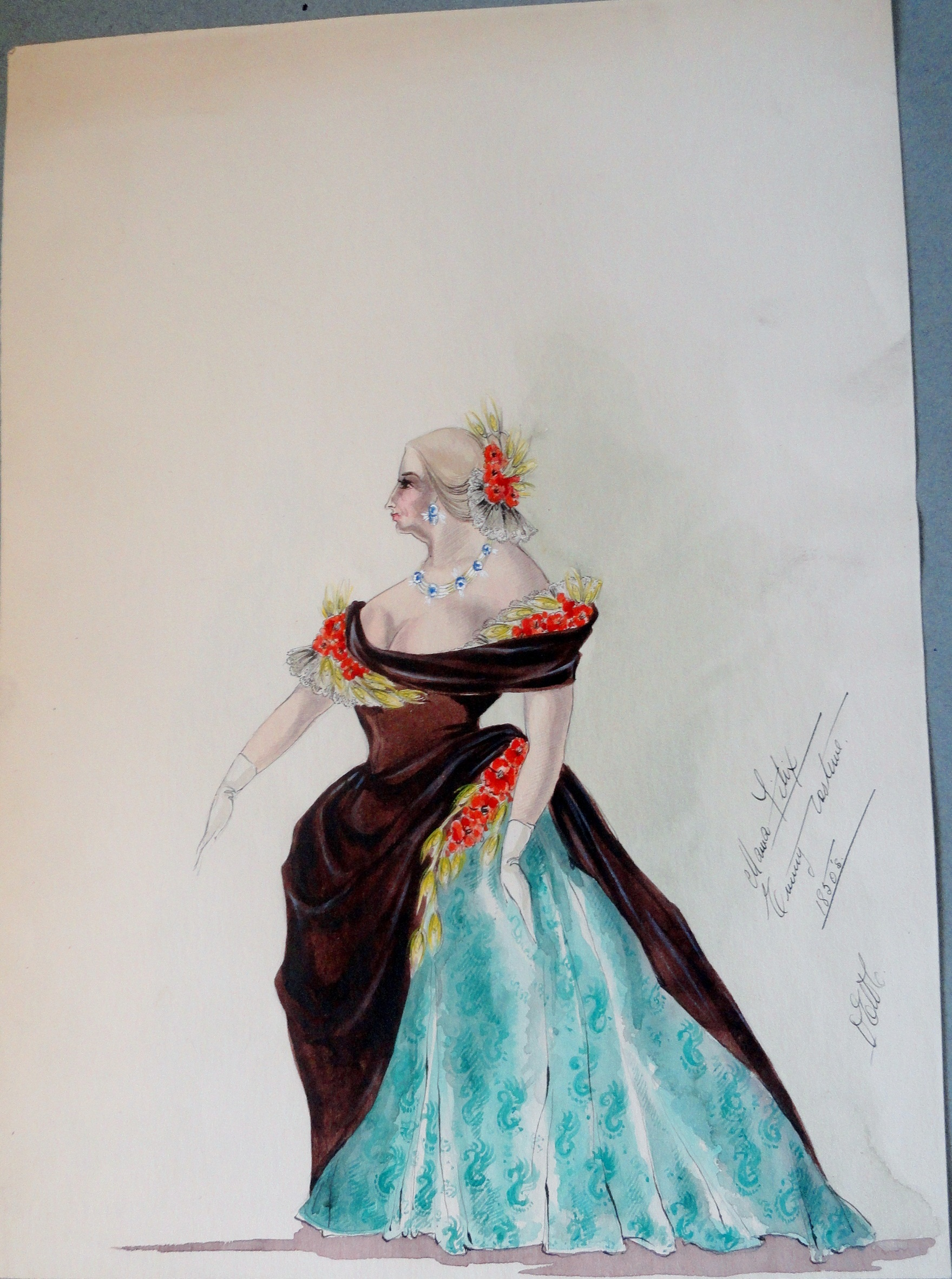 Mama Felix in Brown and Blue gown with notes. From the Rachel Portfolio by Owen Hyde Clark.