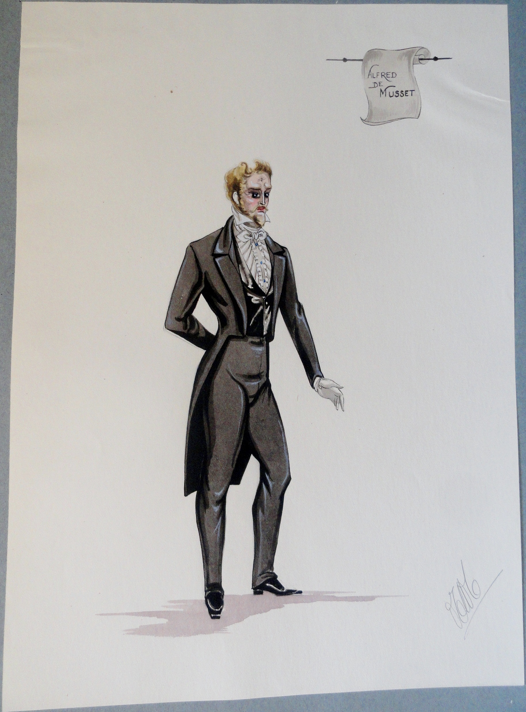 Alfred de Musset. Pen and Ink and Watercolor. From the Rachel Portfolio by Owen Hyde Clark. $300.00.