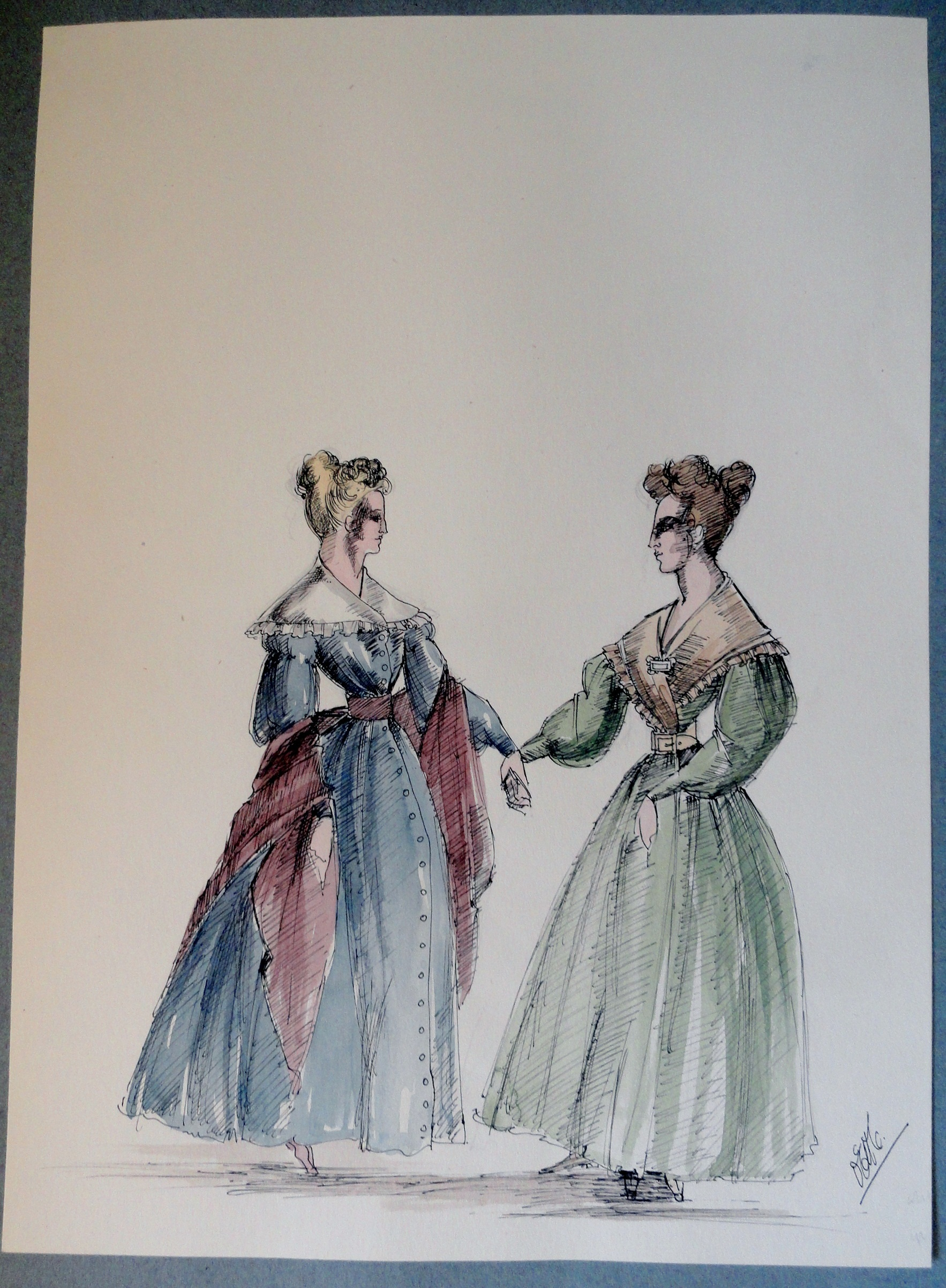 Rachel and sister in blue and green dresses. Pen and Ink and Watercolor. From the Rachel Portfolio by Owen Hyde Clark.