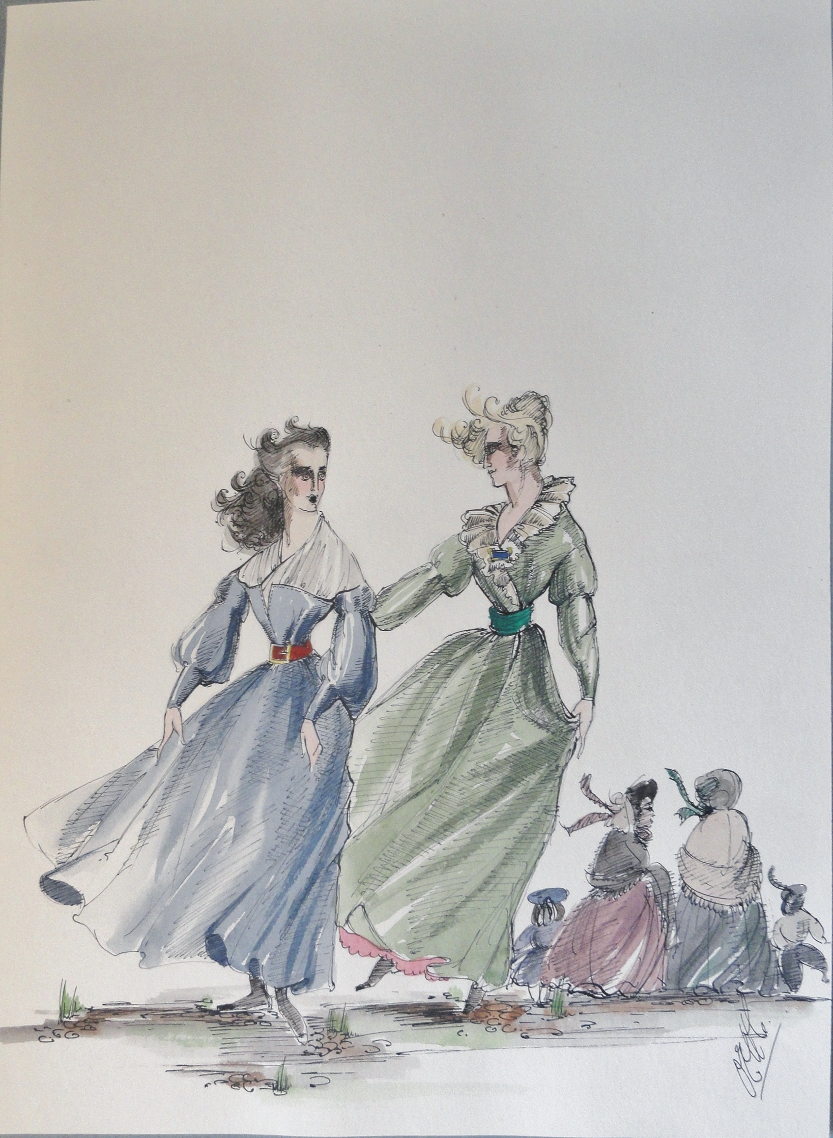 Rachel and sister in blue and green windy dresses.  Pen and Ink and Watercolor. From the Rachel Portfolio by Owen Hyde Clark.