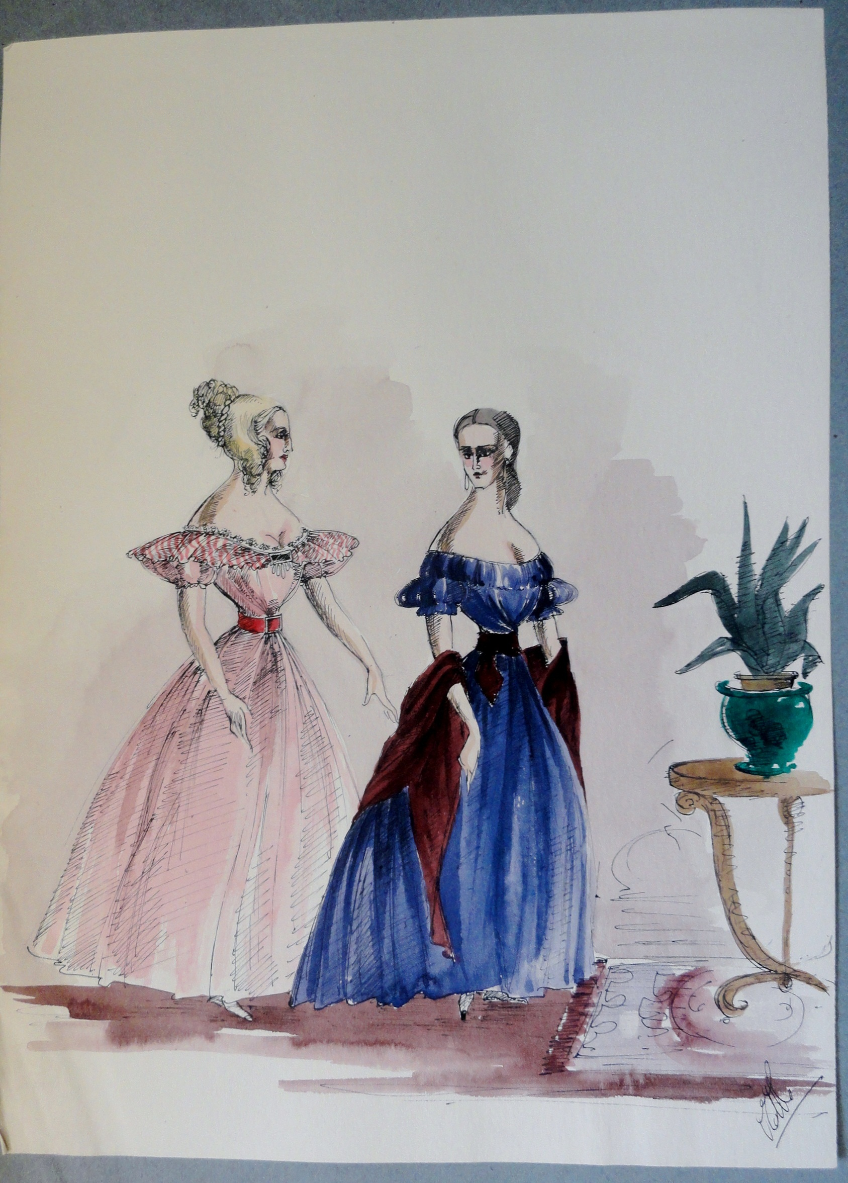 Rachel and sister in pink and blue gowns. Pen and Ink and Watercolor. From the Rachel Portfolio by Owen Hyde Clark.