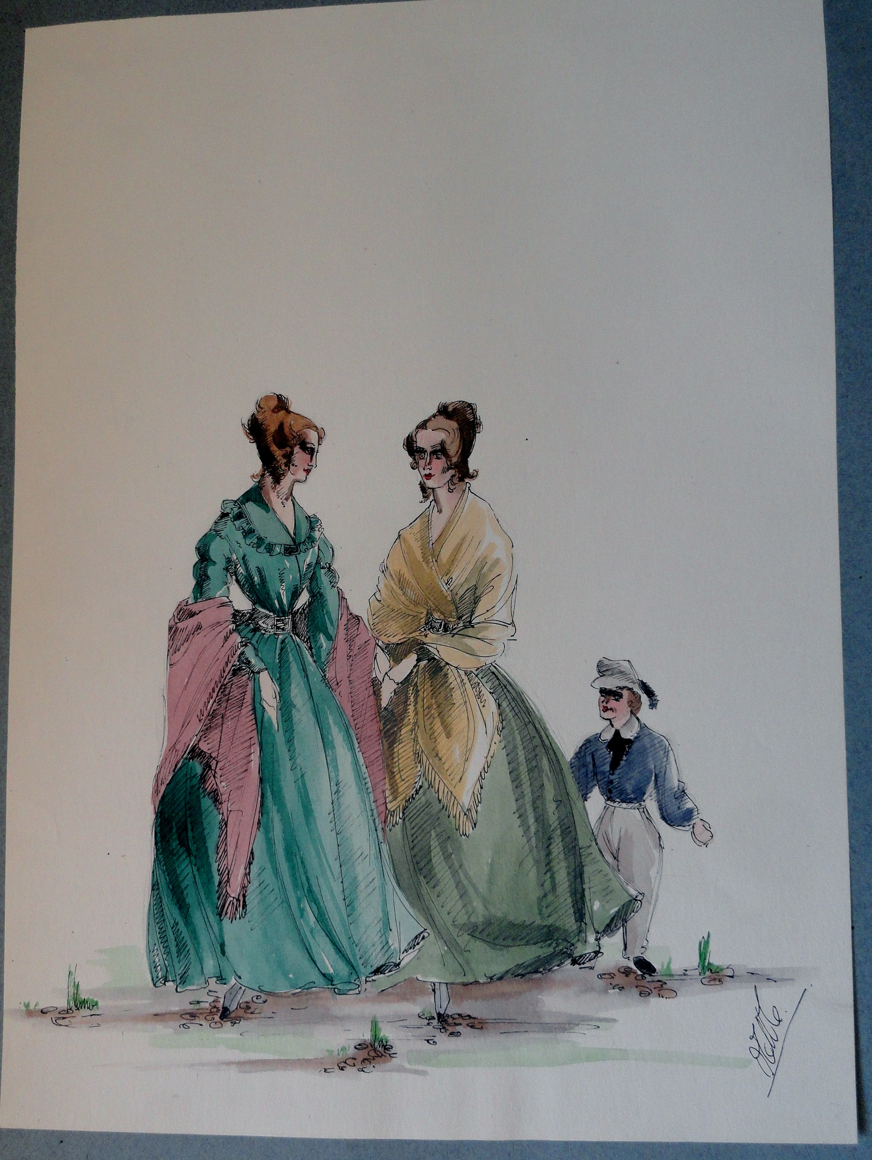 Rachel and sister with young boy in cap. Pen and Ink and Watercolor. From the Rachel Portfolio by Owen Hyde Clark.