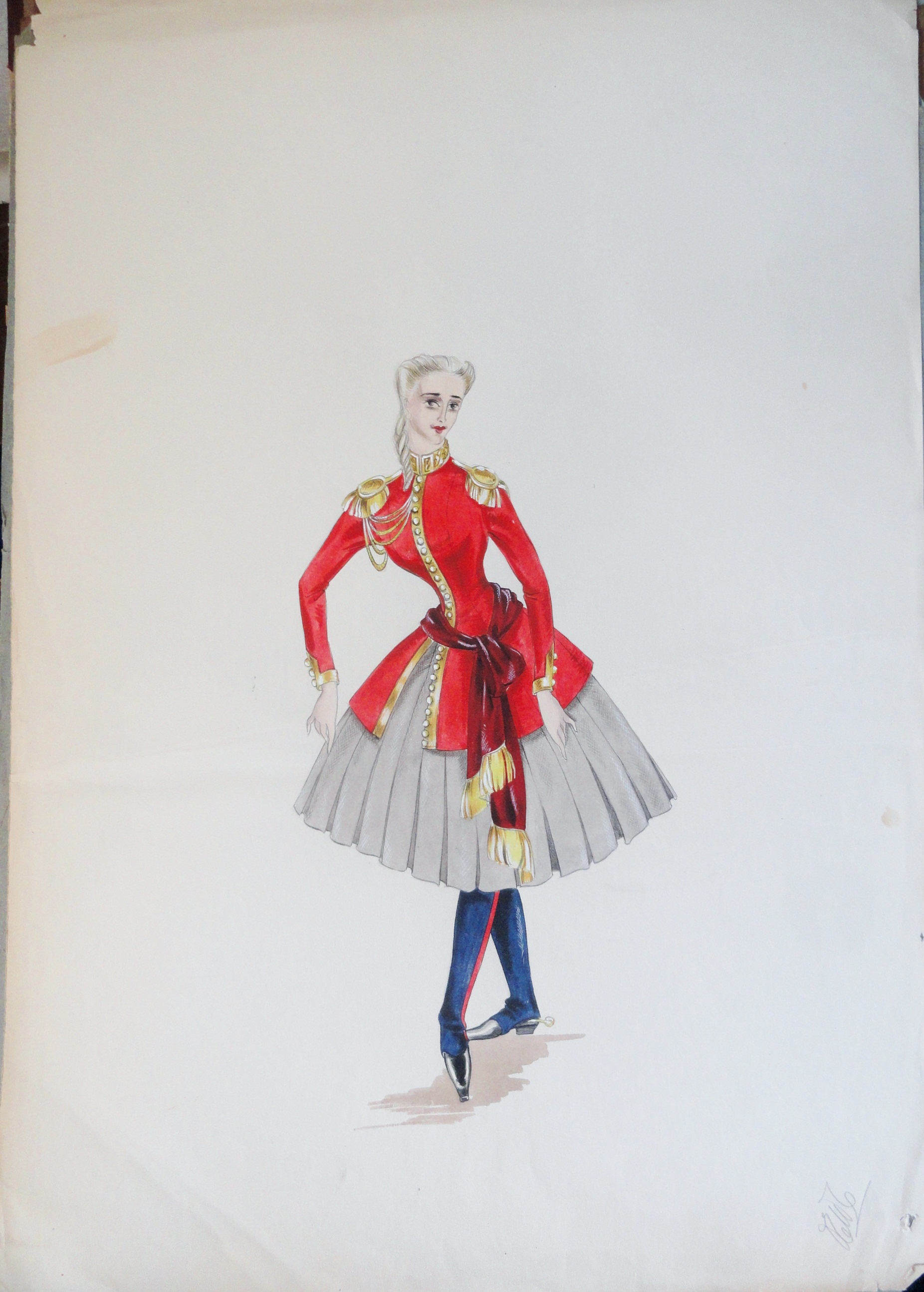 Rachel Felix sister Annette. blonde in bright red uniform top and blue leggings . Pen and ink and gouache painting on paper. From the Rachel Portfolio by Owen Hyde Clark.  .