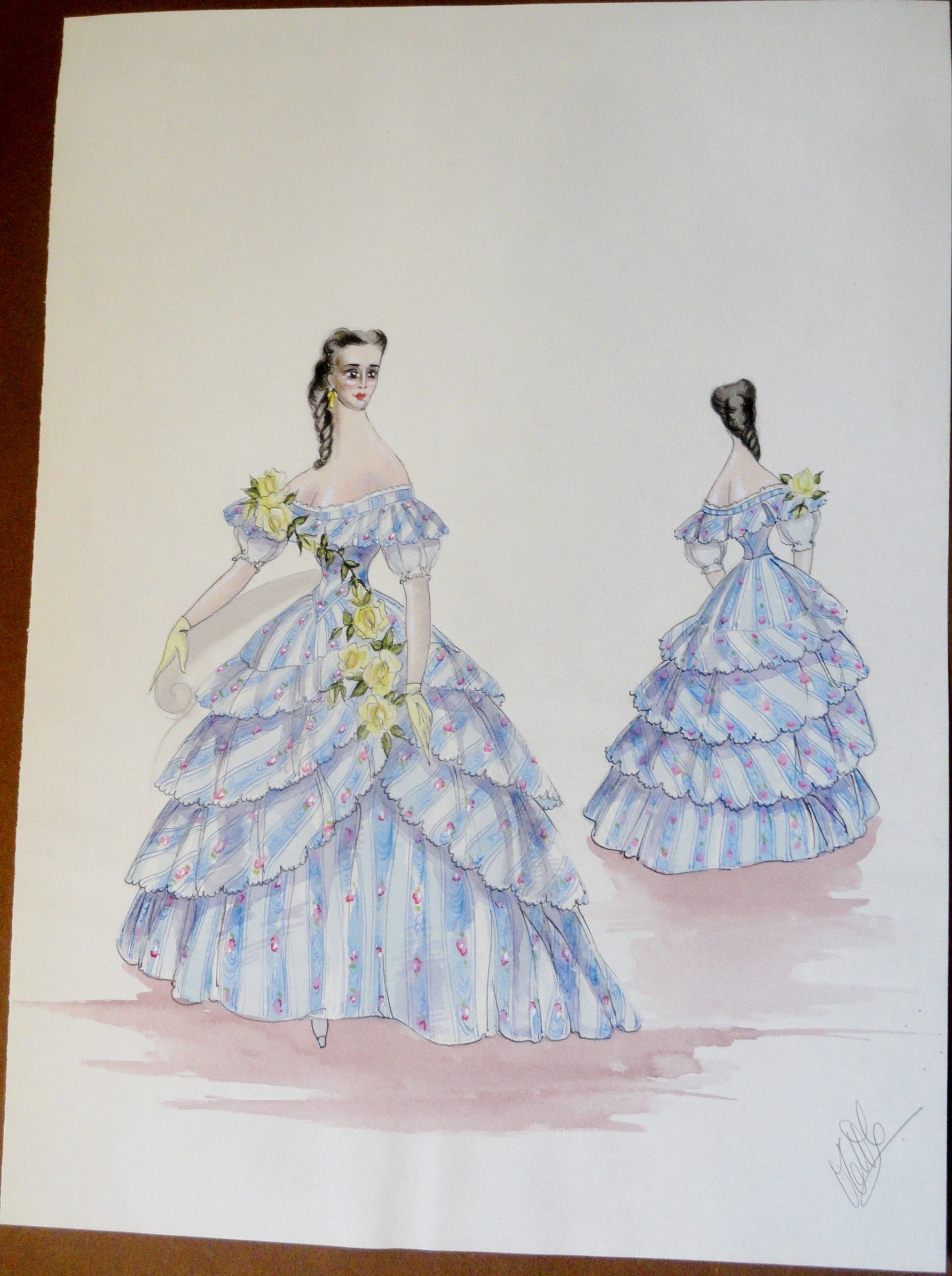 Rachel Felix in blue and yellow gown. Pen and Ink and Watercolor. From the Rachel Portfolio by Owen Hyde Clark.