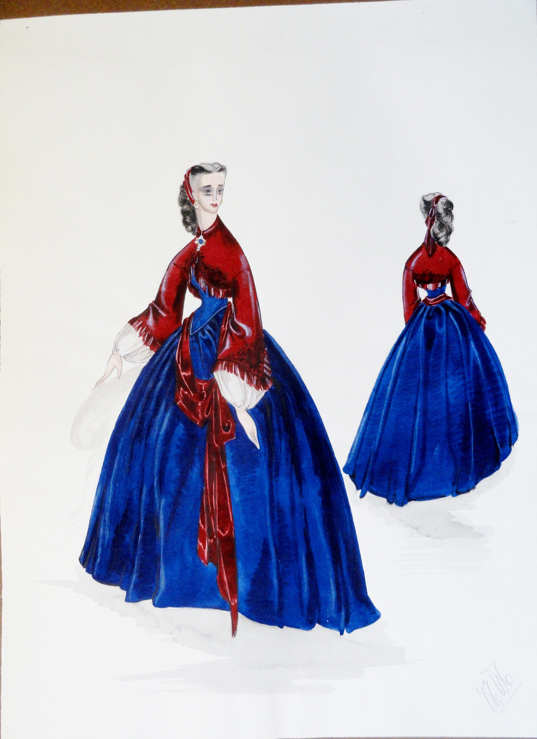 Rachel Felix in blue dress, burgundy top, and sash. Pen and Ink and gouache. From the Rachel Portfolio by Owen Hyde Clark. $300.00.