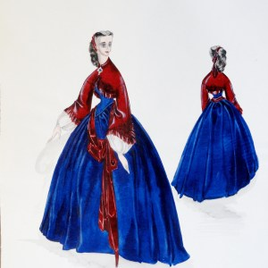 Rachel Felix in blue dress, burgundy top, and sash. Pen and Ink and gouache. From the Rachel Portfolio by Owen Hyde Clark.