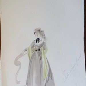 Rachels sister in  brown dress black tie unsigned study with notes. Pen and Ink and Watercolor. From the Rachel  Portfolio by Owen Hyde Clark for Edana Romney