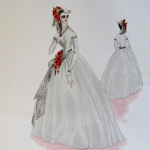 Rachel sister Annette in a grey gown and bonnet with red flowers. Pen and Ink and Watercolor. From the Rachel Portfolio by Owen Hyde Clark.