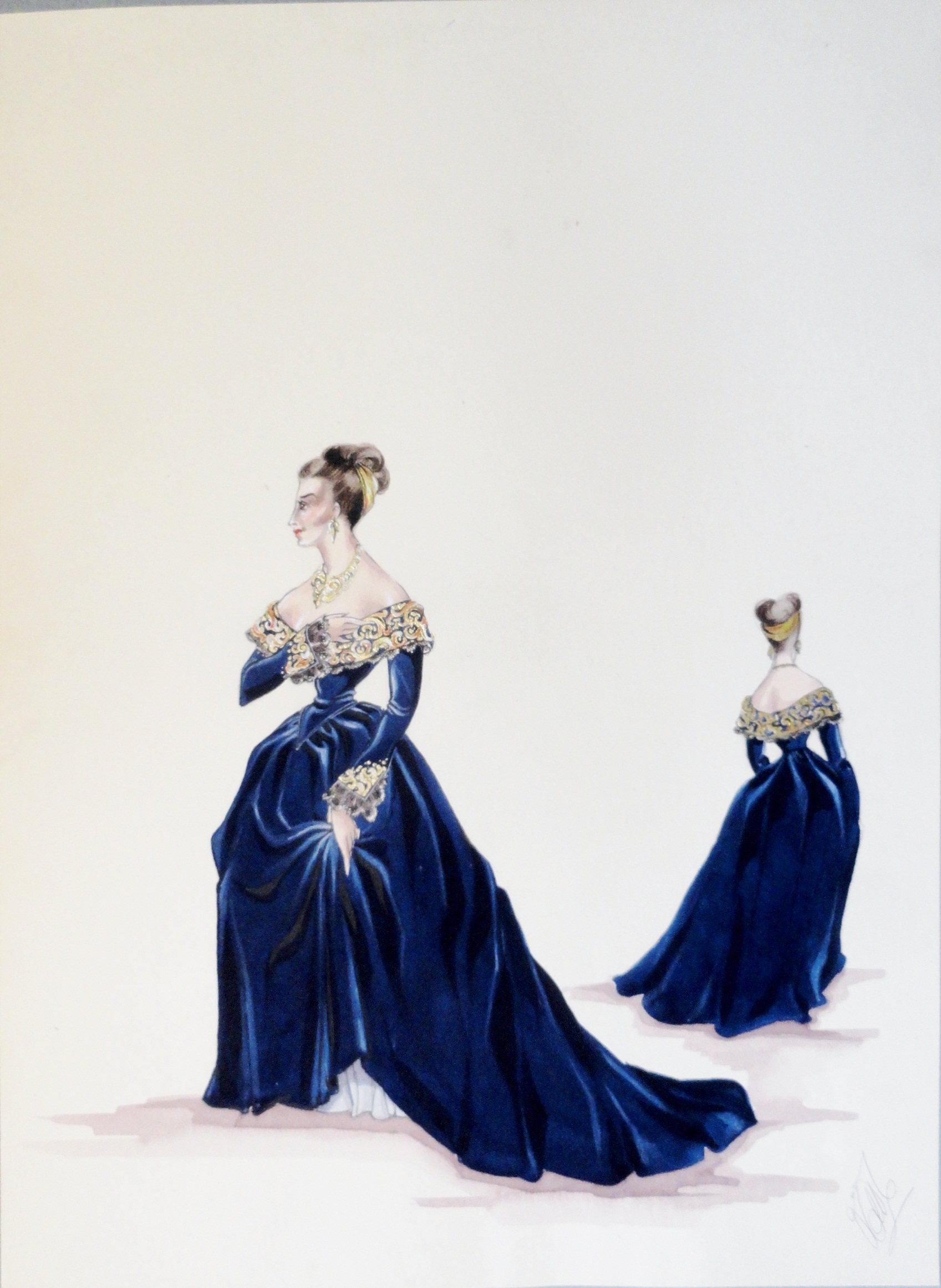 Rachel in blue velvet gown with gold leaf accents. Pen and Ink and Gouache. From the Rachel Portfolio by Owen Hyde Clark. $300.00.
