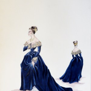 Rachel in blue velvet gown with gold leaf accents. Pen and Ink and Gouache. From the Rachel Portfolio by Owen Hyde Clark.