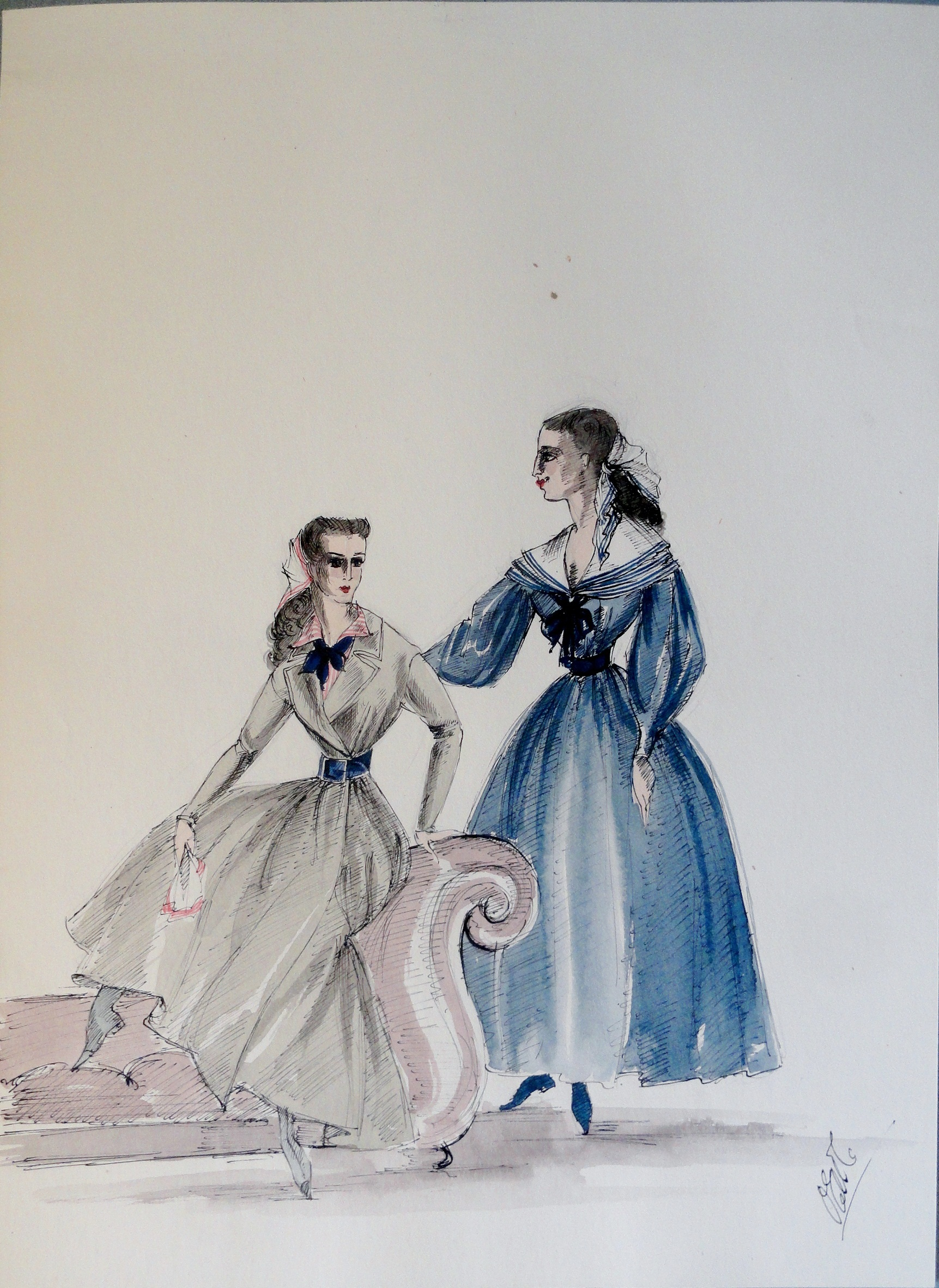 Rachel and sister in green and blue dresses at sofa. Pen and ink and watercolor. From the Rachel Portfolio by Owen Hyde Clark. Signed. $150.00.