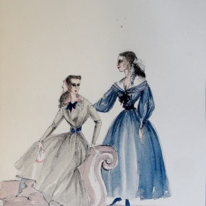 Rachel and sister in green and blue dresses at sofa. Pen and ink and watercolor. From the Rachel Portfolio by Owen Hyde Clark. Signed.