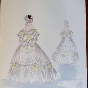 Rachel in white gown yellow accents. Pen and ink and watercolor. Signed.  From the Rachel Portfolio by Owen Hyde Clark.