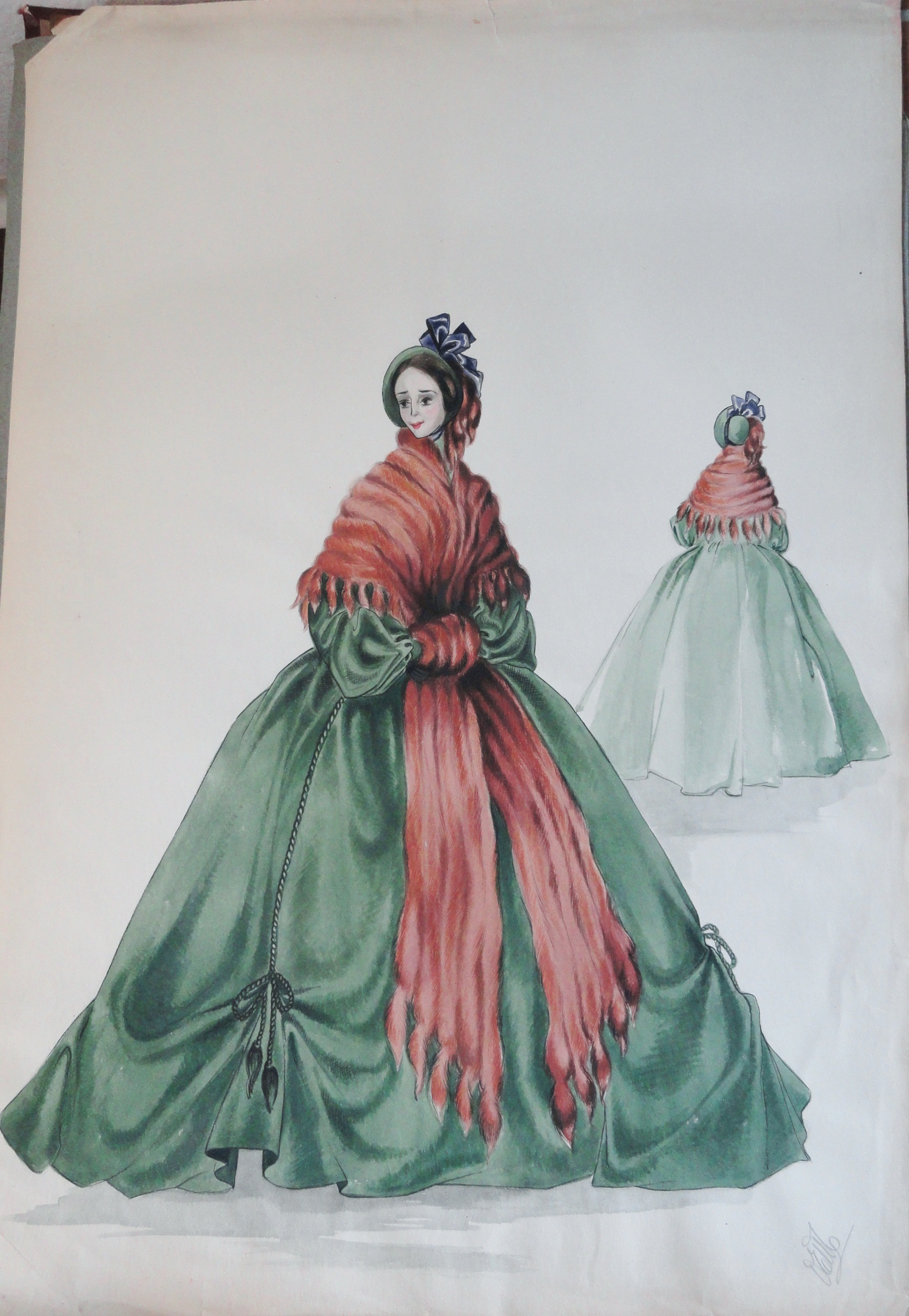 Rachel Felix in long green dress with fur stole. Pen and ink and gouache. Signed.  From the Rachel Portfolio by Owen Hyde Clark.
