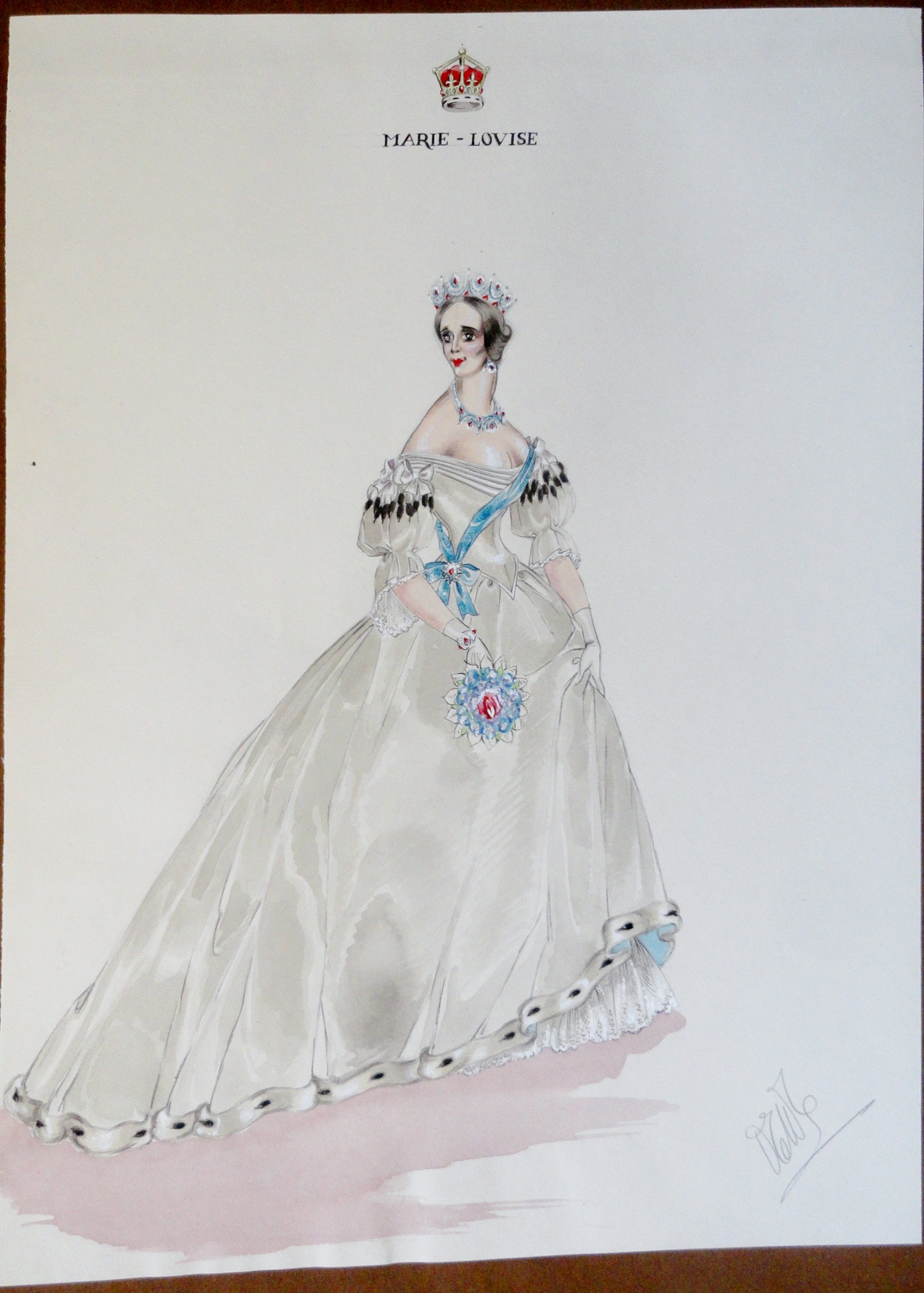 Marie Louise attending a play starring Rachel Felix. Pen and ink and watercolor. Signed.  From the Rachel Portfolio by Owen Hyde Clark. $400.00.