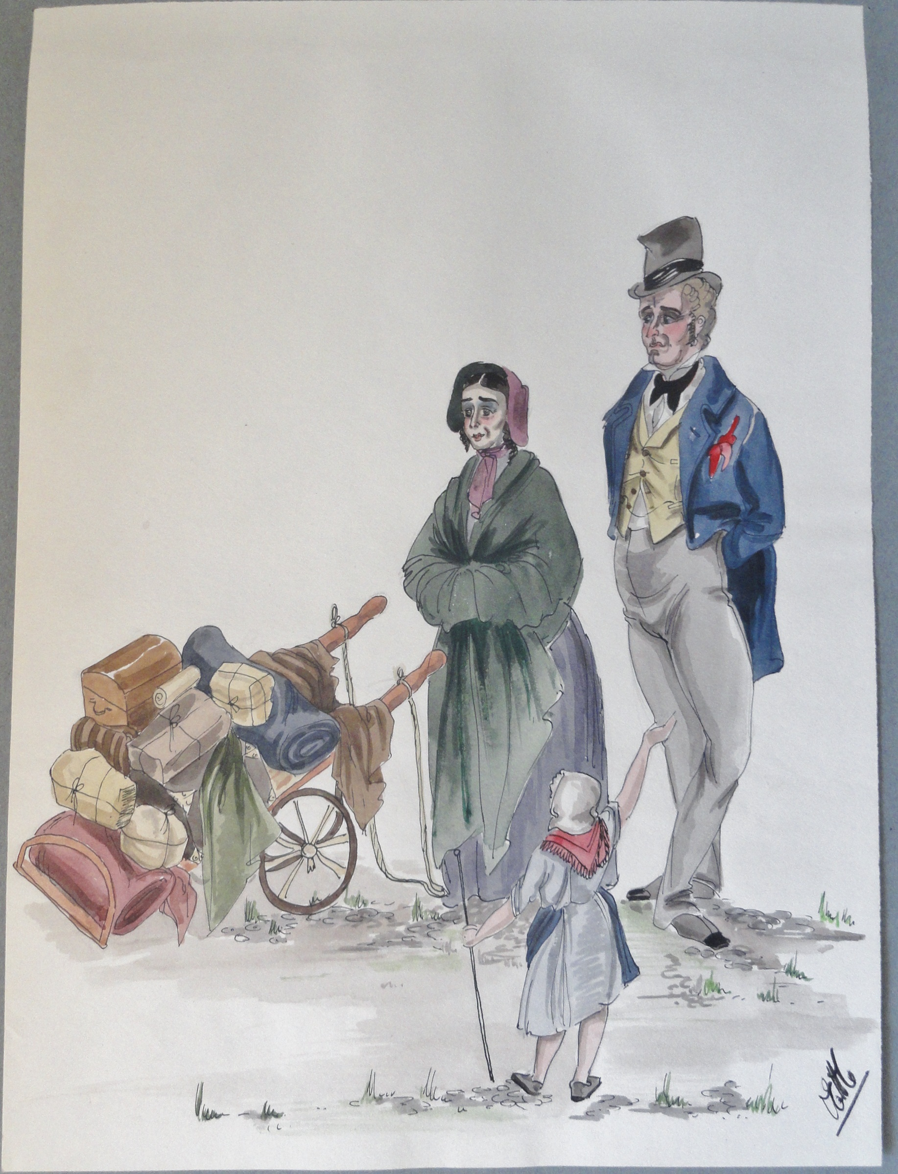 Rachel's parents rag sellers in Paris. Pen and ink and watercolor. Signed.  From the Rachel portfolio by Owen Hyde Clark. $150.00.