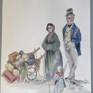 Rachel's parents rag sellers in Paris. Pen and ink and watercolor. Signed.  From the Rachel portfolio by Owen Hyde Clark.