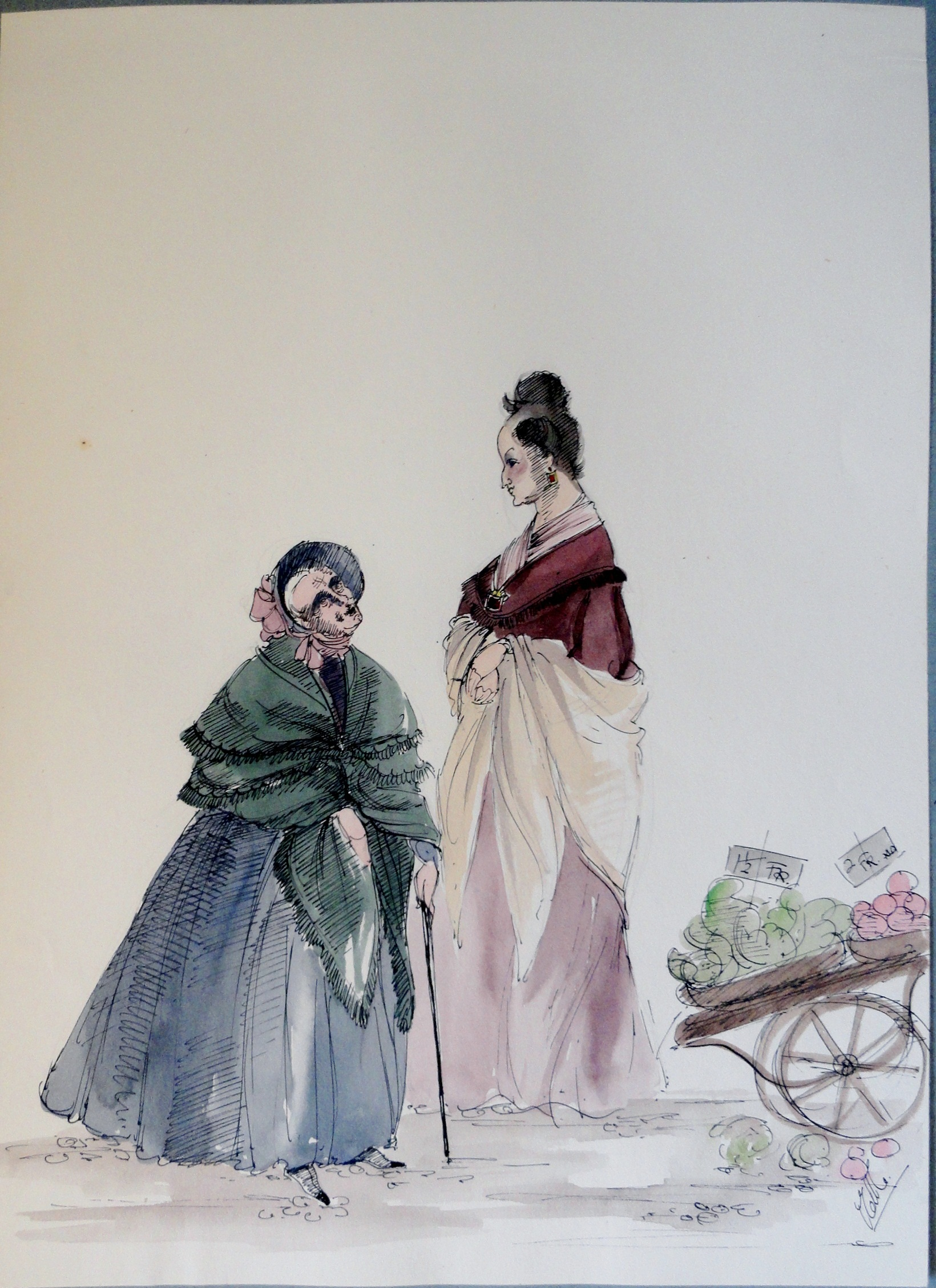 Two gossiping old women from RACHEL. Pen and ink and watercolor. Signed.  From the Rachel Portfolio by Owen Hyde Clark. $100.00