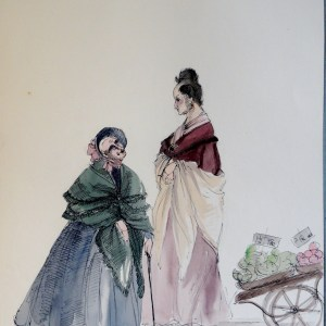 Two gossiping old women from RACHEL. Pen and ink and watercolor. Signed.  From the Rachel Portfolio by Owen Hyde Clark.