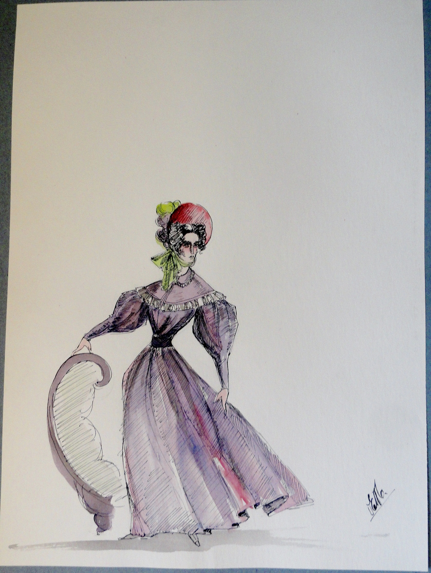 Rachel purple dress and bonnet. Pen and ink and watercolor. Signed.  From the Rachel Portfolio by Owen Hyde Clark. $100.00